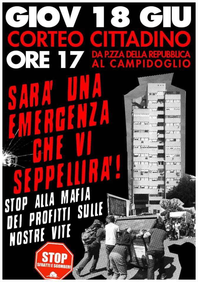18 giugno corteo cittadino: Fermiamo la mafia dei profitti sulle nostre vite!