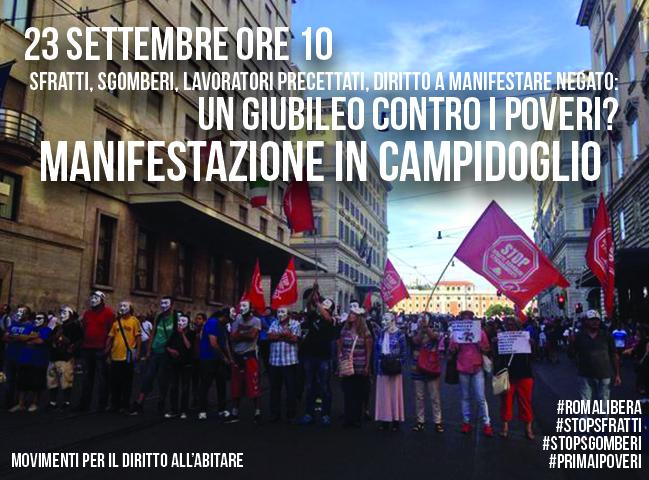 Un Giubileo contro i poveri: #23s i movimenti si mobilitano contro sgomberi e sfratti