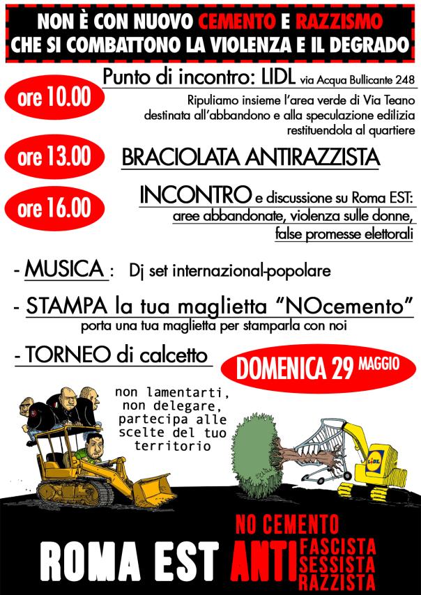 29 Maggio Giornata di festa Antirazzista e No Cemento